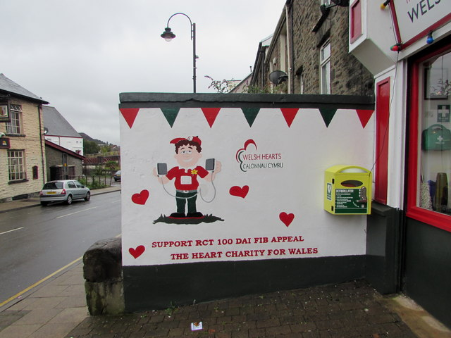 Welsh Hearts mural and defibrillator box, De Winton Street, Tonypandy