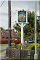 TL9165 : Fox & Hounds Public House sign by Adrian Cable