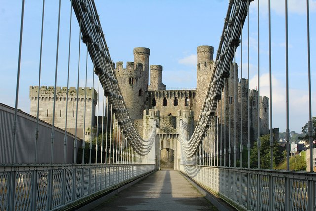 Crossing Telford's suspension bridge