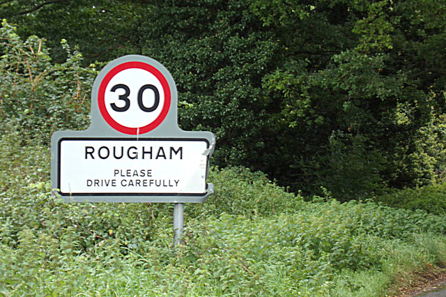 Rougham Village Name sign on Ipswich Road