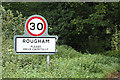 TL8963 : Rougham Village Name sign on Ipswich Road by Adrian Cable
