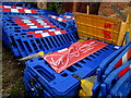 SU5391 : Virgin Media stacked temporary fencing, Mersey Way, Didcot by Jaggery