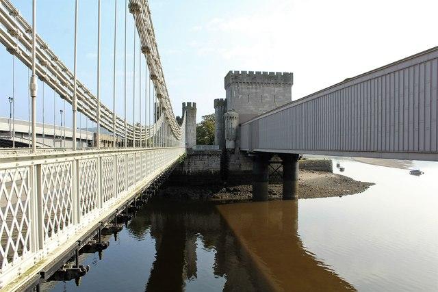Three bridges spanning the Afon Conwy (2)