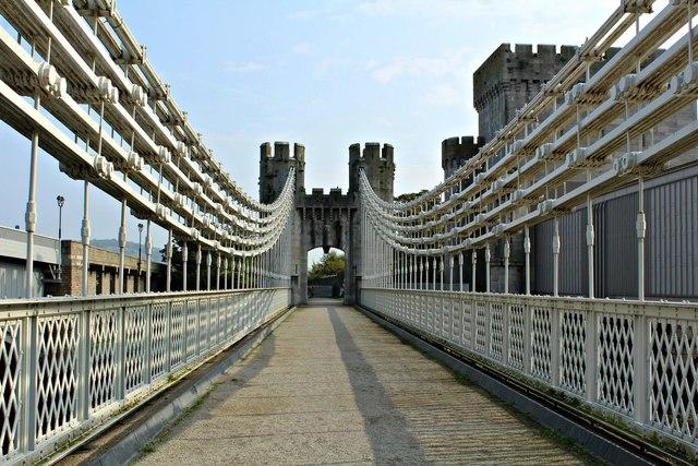 Crossing Telford's suspension bridge - viewed ENE