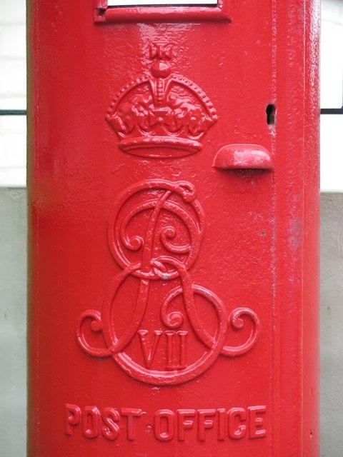 Edward VII postbox, Whitley Road - royal cipher