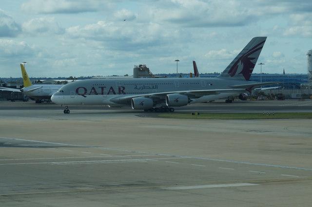 Qatar Airways A380 lands at Heathrow