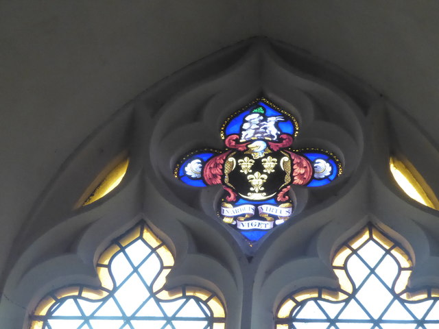 St Peter, Reymerston: stained glass detail