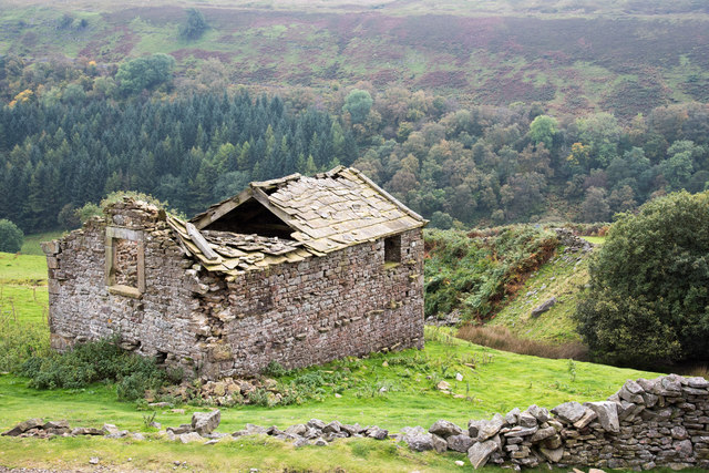 Ruined barn with gorge of River Swale beyond