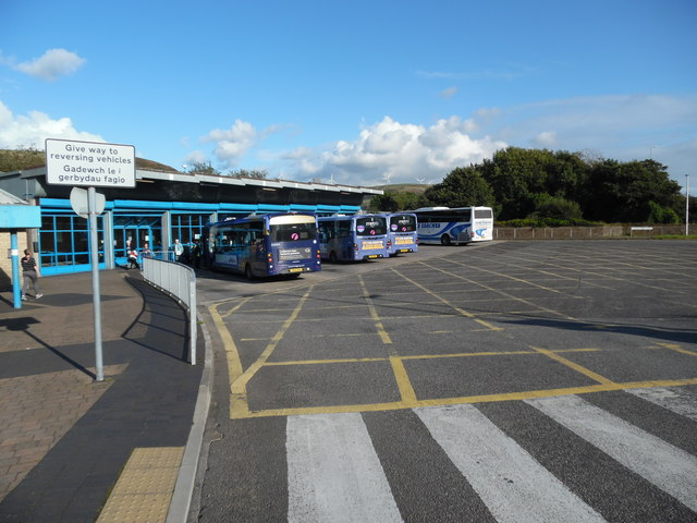 Three Buses and a Coach in Port Talbot Bus Station