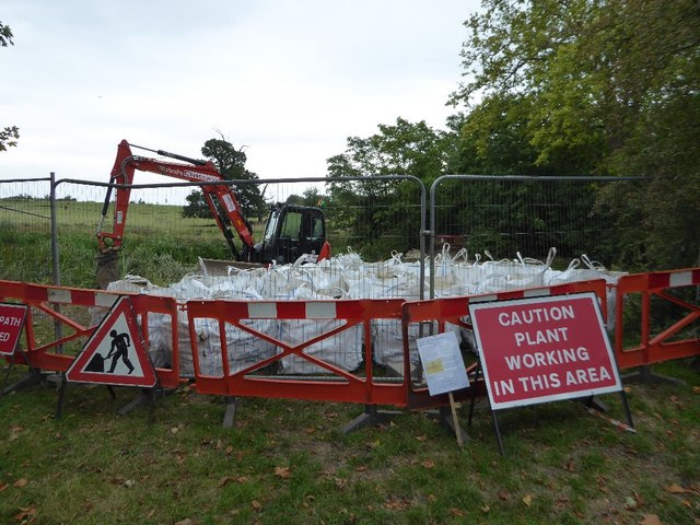 Bags of aggregate in Croome Park