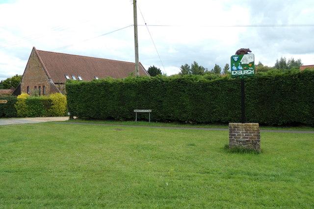 Ickburgh Village sign & Ashburton Road sign