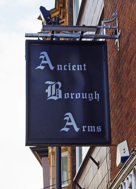Ancient Borough Arms (2) - sign, 41 Market Place, Pontefract