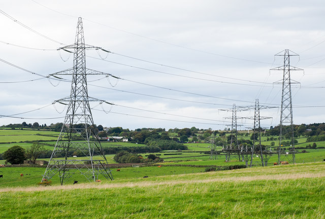 Two sets of electricity transmission lines