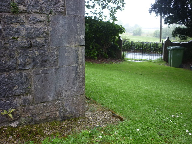 Cut bench mark, St Peters Church, Field Broughton