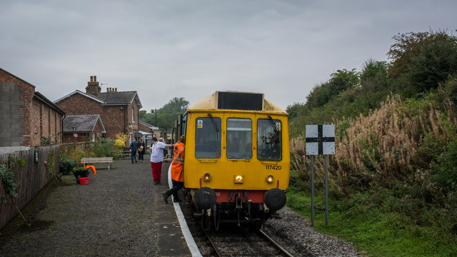 Heritage DMU at Beadale Station on the Wensleydale Railway