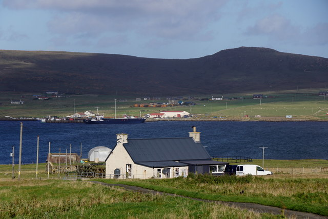 Looking across the voe from Ordaal, Baltasound