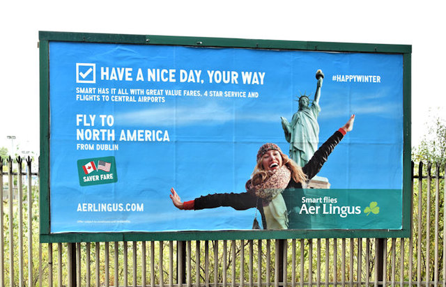 "Aer Lingus ""North America"" poster, Belfast (October 2017)"