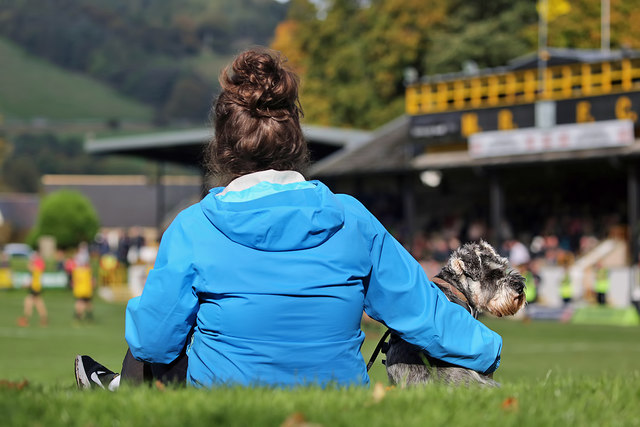 A spectator and dog at the Greenyards, Melrose