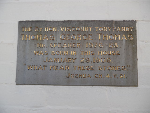 Plaque on George Thomas' birthplace, Port Talbot