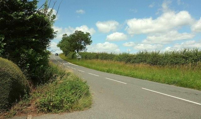 Road northwest from Kinnersley