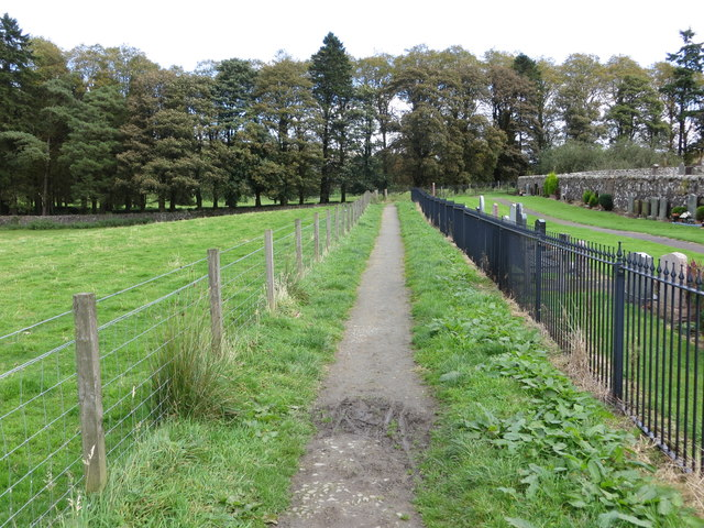 Enclosed pathway along the edge of Pool of Muckhart Parish Church Cemetery