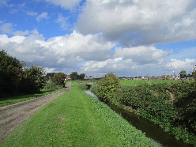 Nafferton Drain and roadway to Rotsea Carr Farm