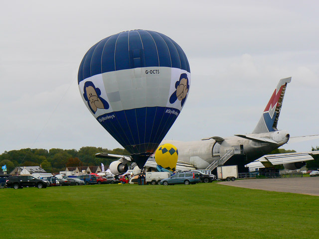 Tethered hot-air balloon, Cotswold Airport, Kemble