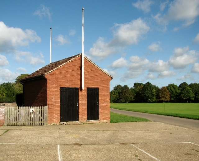 Commentator's box by the bowling green on Swardeston Common