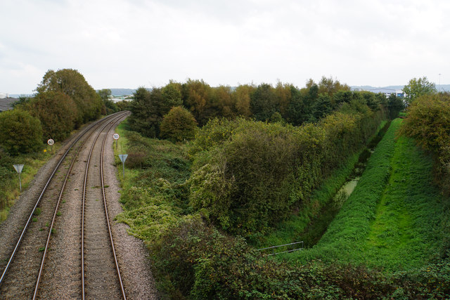 Railway and drainage channel