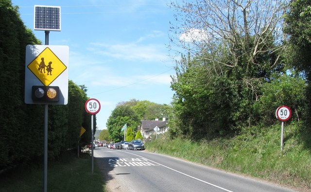 School warning signs on the southern approach to Dulargy Mixed National School