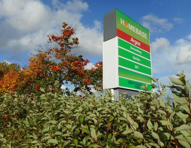 Sign for Homebase, Milngavie