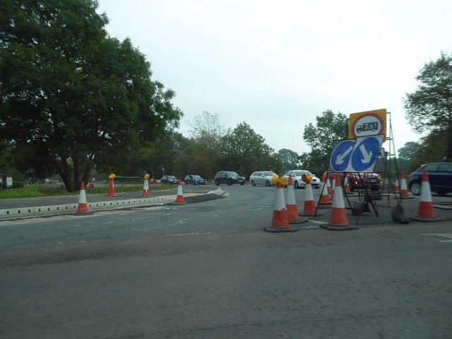 Traffic cones at Scotch Corner