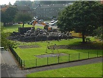 NS3975 : Demolition of West Bridgend Community Centre by Lairich Rig