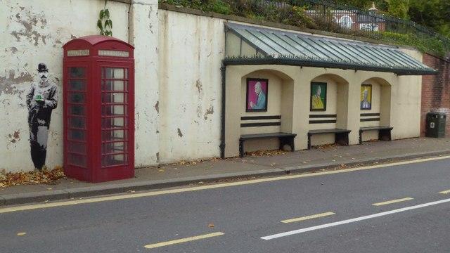 Elgar Street Art at a bus shelter