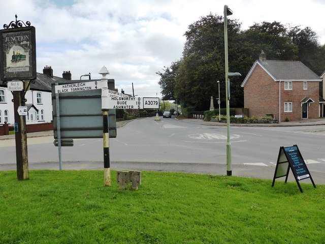 Signpost at Halwill Junction crossroads