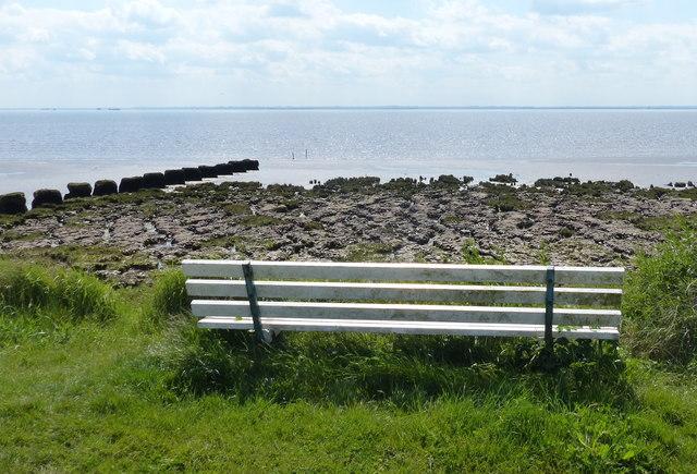 Seat overlooking the Humber shoreline