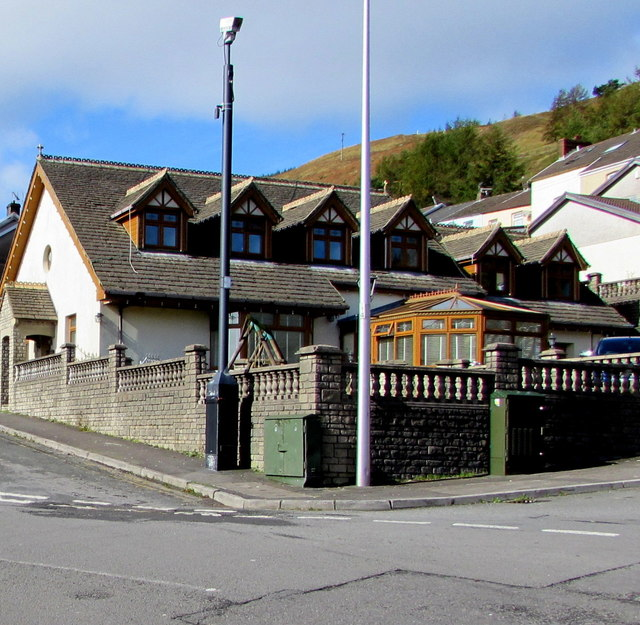CCTV camera and telecoms cabinets on a Clydach Vale corner