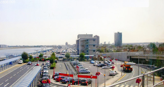 Eastward from London City Airport DLR station, 2008