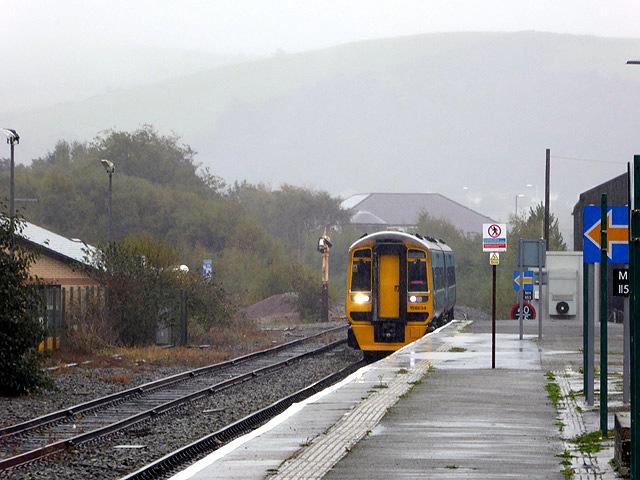 An Arriva train entering Aberystwyth station