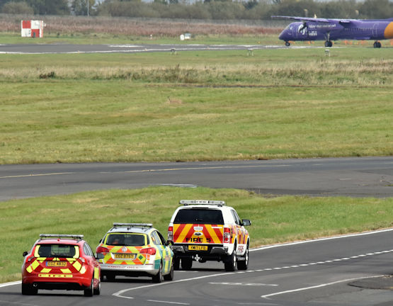 Emergency services vehicles, Belfast City Airport (October 2017)