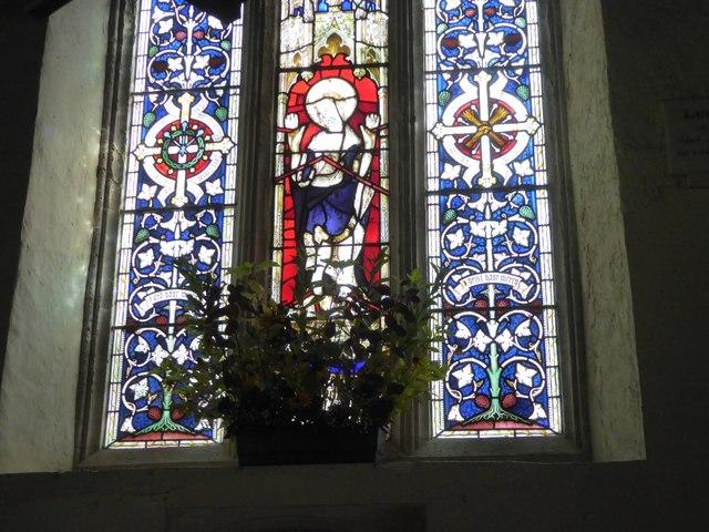 Painted glass window of Christ in Cadbury church