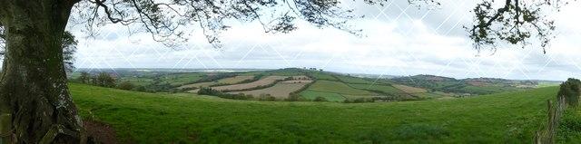 Panorama north from Raddon Hills