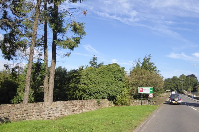 A6 Bakewell Road and sign for Whitworth Hospital