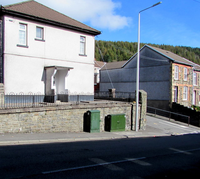 Telecoms cabinets on a Clydach Vale corner