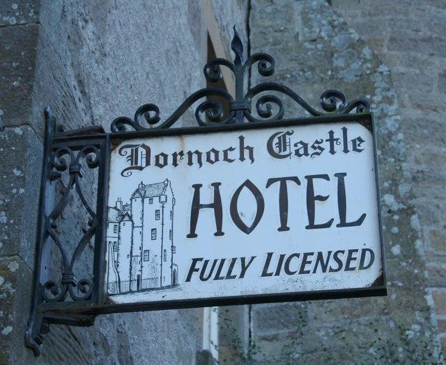 Sign for the Dornoch Castle Hotel