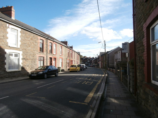 Commercial St, Senghenydd, approaching the junction with Caerphilly Rd
