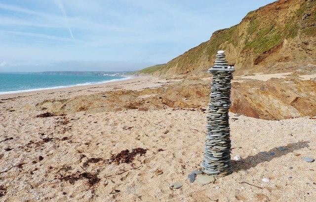 Stone column on the beach at Fishing Cove, Gunwallow, Cornwall