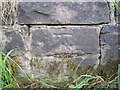 SJ9473 : Bench mark in front of Black Spring, Buxton Old Road by John S Turner
