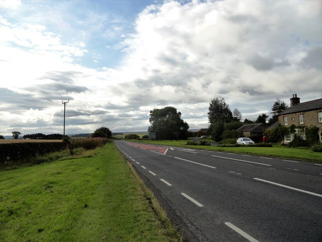 View south down the A68 at Kiln Pit Hill