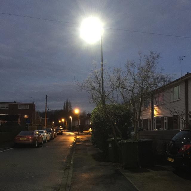 Street lighting, Mercia Way, Warwick